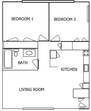 K Plaza 2 Bedroom floorplan