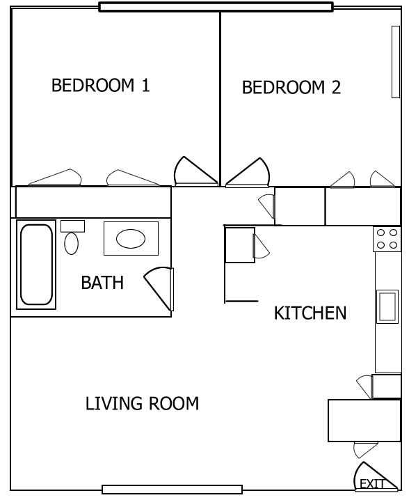 2 bedroom apartment floor plan for Floor plan design for 2 bedroom flat