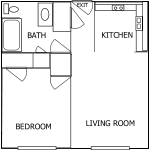R Plaza 1 Bedroom floorplan 1