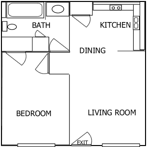 R Plaza 1 Bedroom floorplan 2