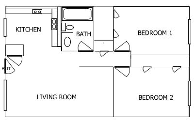 R Plaza 2 Bedroom floorplan 1