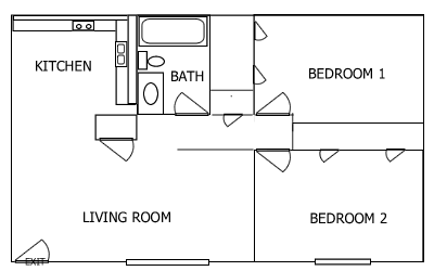 R Plaza 2 Bedroom floorplan 2