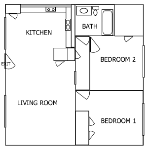 R Plaza 2 Bedroom floorplan 4